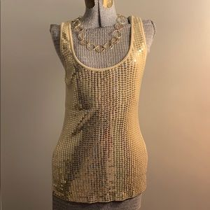Express gold 💛 sequin tank size L